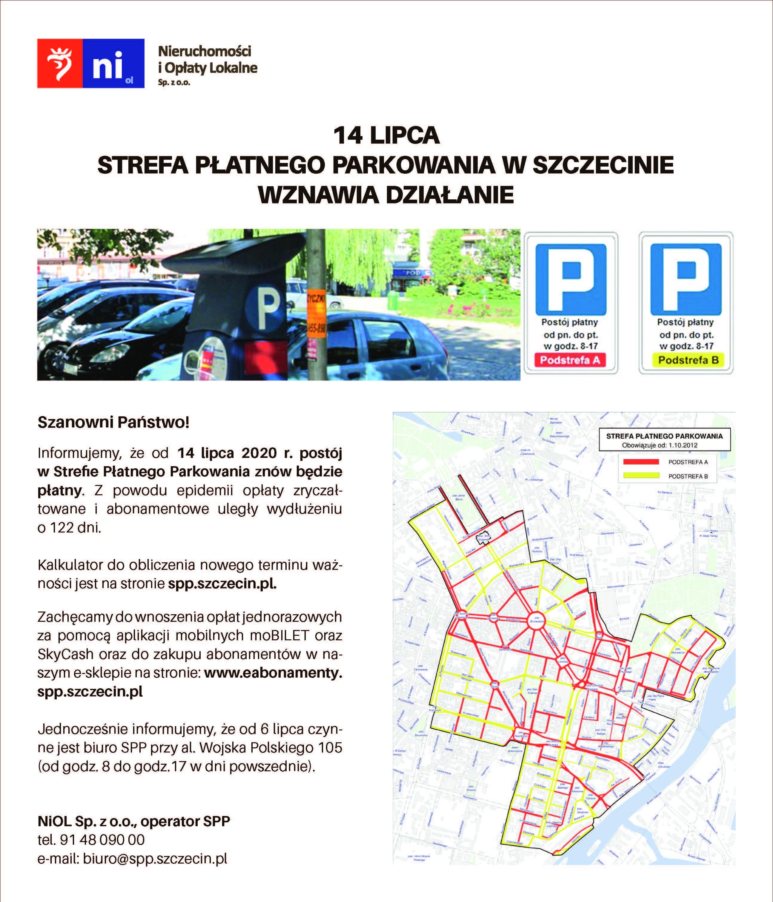 14 lipca wznowienie opłat za Strefę Płatnego Parkowania